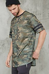 Forever 21 Camo Print Jersey Mesh Tee Olive Black