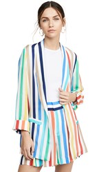 Alice Olivia Kylie Easy Shawl Collar Jacket Rainbow Stripe