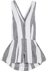 Paper London Sunflower Cutout Striped Twill Top Light Gray