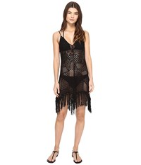 Polo Ralph Lauren Crochet Fringe Dress Cover Up Black Women's Swimwear