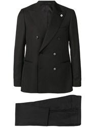 Lardini Two Piece Double Breasted Suit Black