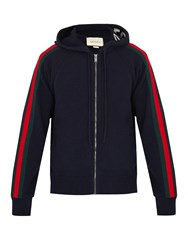 Gucci Web Trimmed Wool Blend Hooded Cardigan Navy