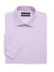 Saks Fifth Avenue Black Classic Fit Textured Cotton Dress Shirt Light Purple