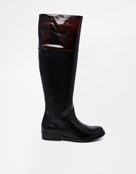 Shoe Biz Leather Flat Knee High Boots With Contrast Top Polidoblackpolido