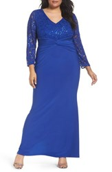 Marina Plus Size Women's Sequin Lace And Jersey Mermaid Gown Royal