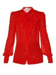 Saint Laurent Glitter Plumetis Neck Tie Blouse Red