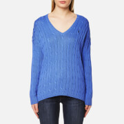 Polo Ralph Lauren Women's V Neck Side Slit Jumper Brookfield Blue