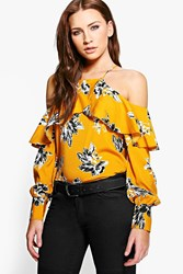 Boohoo Molly Printed Cold Shoulder Blouse Mustard