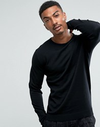 Selected Homme Crew Neck Knit In Cotton Silk Black