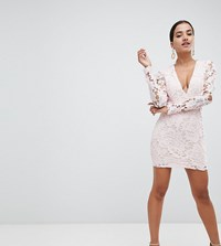 Missguided Crochet Lace Plunge Mini Dress Pink