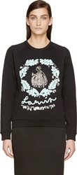 Lanvin Black Ribbon And Rhinestone Sweatshirt