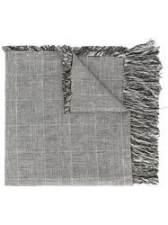 Our Legacy Fringed Houndstooth Scarf Men Cotton Linen Flax One Size Grey