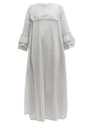 Luisa Beccaria Ruffled Striped Linen Blend Midi Dress Blue Stripe