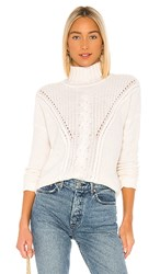 Autumn Cashmere Mock Neck Cable Stitch Sweater In Ivory. Chalk