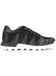 Pollini Lace Up Knit Trainers Black