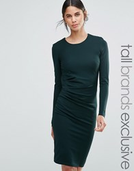 Y.A.S Tall Side Ruched Long Sleeve Pencil Dress Green