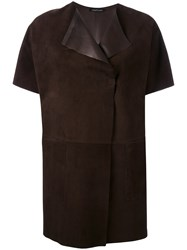 Almarosafur Short Sleeved Suede Jacket Women Calf Leather 42 Brown