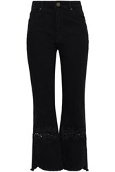 Sandro Woman Lace Trimmed High Rise Kick Flare Jeans Black