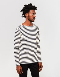 Armor Lux Classic Long Sleeve T Shirt Off White And Navy