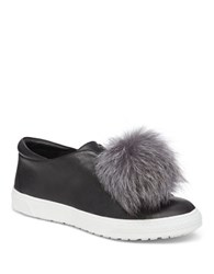 Delman Slip On Fur Sneakers Black