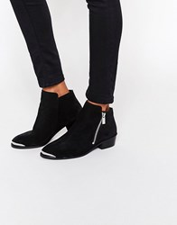 Asos Ashton Leather Ankle Boots With Metal Detail Black
