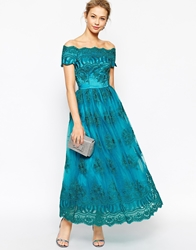 Chi Chi London Premium Embroidered Off Shoulder Prom Dress In Longer Length Tealgreen