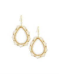 Nakamol Pearl And Crystal Teardrop Earrings Cream