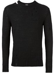 Diesel Distressed Crew Neck Jumper Black