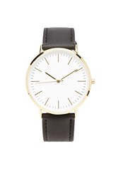 Forever 21 Faux Leather Analog Watch Black Gold