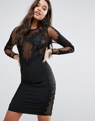 Wow Couture Bandage Midi Dress With Lace Detail Black