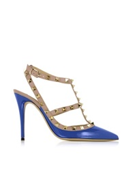 Valentino Rockstud Light Sapphire And Powder Leather Ankle Strap Pump Blue