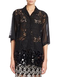 Dries Van Noten Cruz Lace Short Sleeve Shirt With Paillette Hem Black