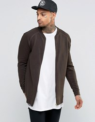 Asos Longline Jersey Bomber Jacket In Khaki Hunter Green