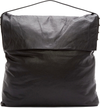 Rick Owens Black Leather Hobo Tote Bag