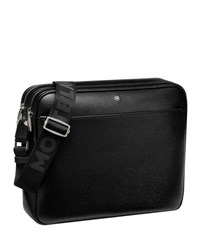 Montblanc Zip Top Leather Messenger Bag Black