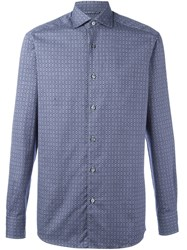 Ermenegildo Zegna Floral Diamond Pattern Shirt Blue
