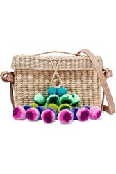 Nannacay Woman Baby Roge Pompom Embellished Woven Raffia Shoulder Bag Beige