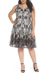 Gabby Skye Plus Size Women's Printed Lace Fit And Flare Dress Ivory Black