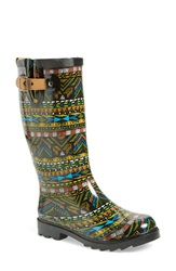 Chooka Geo Print Rain Boot Women Black
