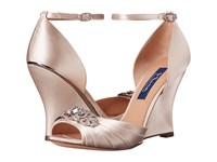 Nina Edyth Ivory Crystal Satin Women's Wedge Shoes Beige