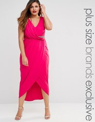 Little Mistress Plus Plunge Midi Dress With Embellishment And Wrap Skirt Pink