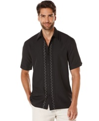 Cubavera Geometric Textured Short Sleeve Shirt Jet Black