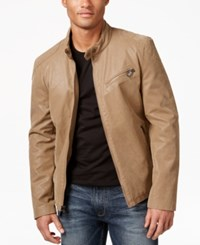 Guess Men's Faux Leather Full Zip Motorcycle Jacket Tan