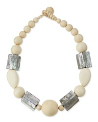 White Wood And Abalone Shell Necklace Women's Viktoria Hayman