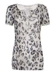 Oui V Neck Animal Print T Shirt Camel