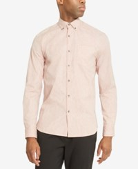Kenneth Cole Reaction Men's Printed Stretch Shirt Pale Mauve Combo