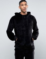 Antioch Oversized Velour Hoodie With Front Pocket And Embroidered A Logo Black