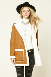 Forever 21 Faux Suede Coat Brown Cream