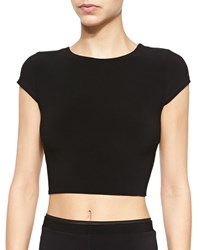 Alice Olivia Twist Back Jersey Crop Top Black