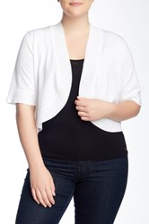 Cable And Gauge Shrug Sweater Plus Size White